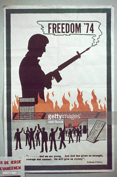 An IRA poster 19th April 1974 It depicts a group of people released from prison below a man with a smoking rifle and the words 'Freedom '74' Beneath...