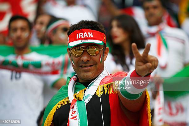 An Iran fan shows support prior to the 2014 FIFA World Cup Brazil Group F match between Iran and Nigeria at Arena da Baixada on June 16 2014 in...