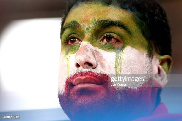 An Iran supporter shows his emotions following defeat during the 2018 FIFA World Cup Russia group B match between Iran and Portugal at Mordovia Arena...