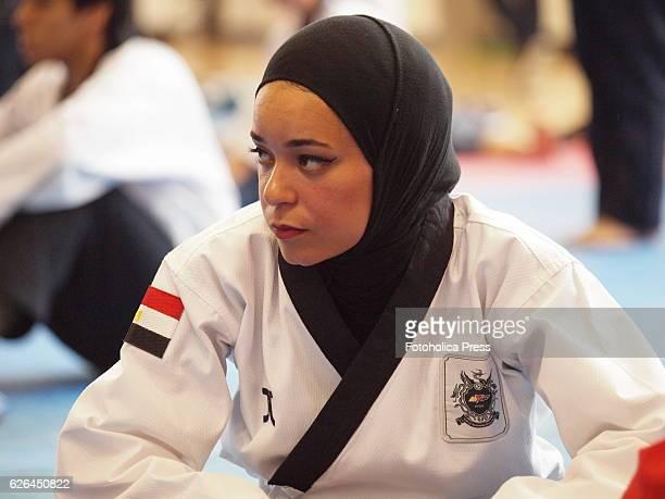 An Iranian athlete participating at the 10th WTF World Taekwondo Poomsae Championship taking place in Lima, Peru.