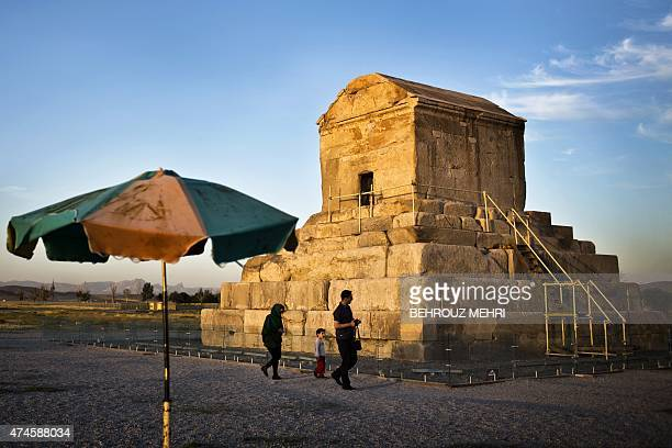 An Iranian family visits the tomb of Cyrus II of Persia known as Cyrus the Great the founder of the Persian Achaemenid Empire in 6th century BCE in...
