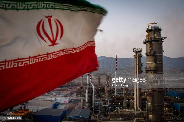 An Iranian national flag flies at the Persian Gulf Star Co gas condensate refinery in Bandar Abbas Iran on Wednesday Jan 9 2019 The third phase of...