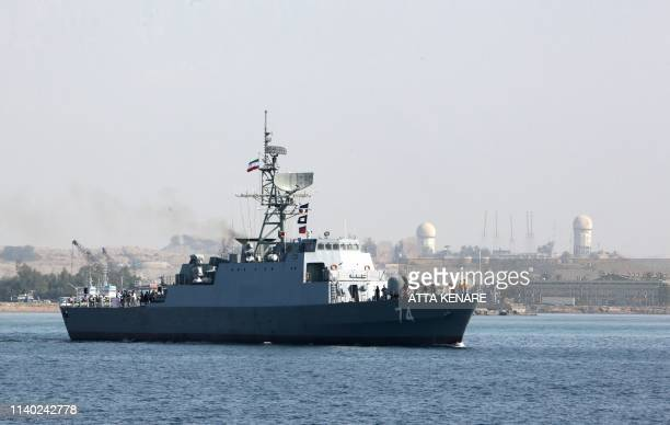 An Iranian Navy warship takes part in the National Persian Gulf day in the Strait of Hormuz on April 30 2019 The date coincides with the anniversary...