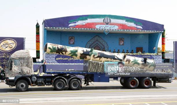 An Iranian Russianmade s300 missile is displayed during the annual military parade marking the anniversary of the outbreak of its devastating...