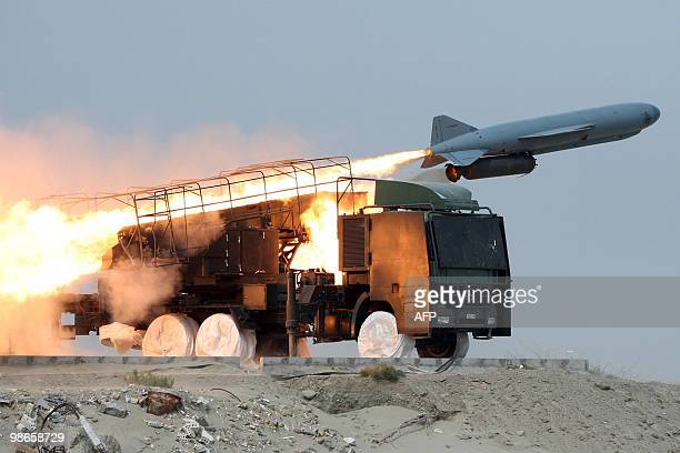 An Iranian Saeqeh missile is launched during war games on April 25, 2010 in southern Iran, near the Strait of Hormuz, the narrow strategically...