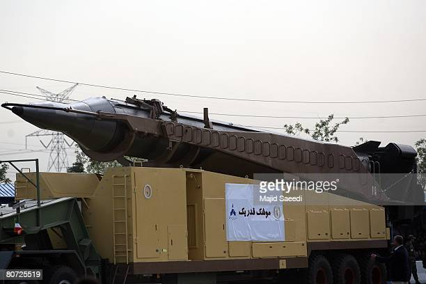 An Iranian surface to surface Ghadr1 missile is seen during the annual army day military parade on April 17 2008 in Tehran Iran Ahmadinejad...