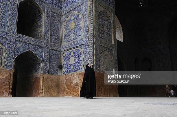 An Iranian woman visits Imam mosque in the city of Isfahan 400 kms south of Tehran on March 18 2008 few days before the Persian new year or Noruz...