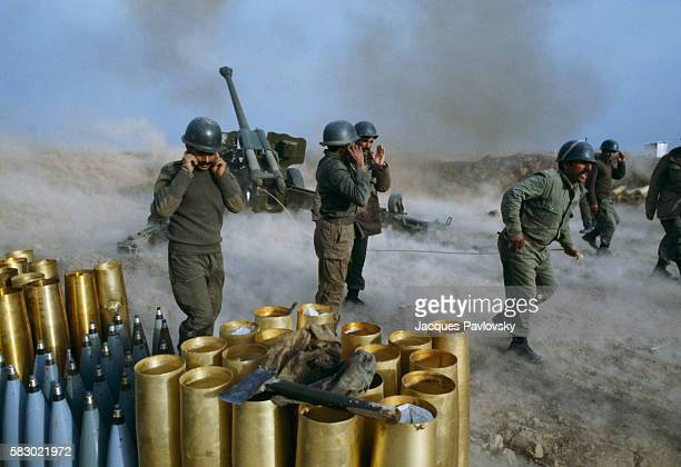 An Iraqi artillery batallion situated in the Maysan sector to the east of Amara in action War broke out between the Iran and Iraq in 1980 and lasted...