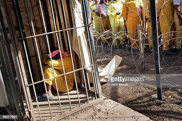 An Iraqi detainee sleeps off his time in a solitary cell punishment after fighting with another prisoner at the Abu Ghraib Prison October 28 2005 on...