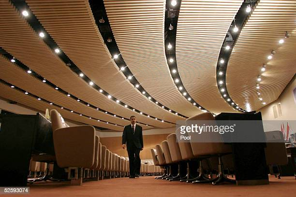 An Iraqi employee makes sure the meeting room where Iraq's newly elected parliament will choose a new president is ready on April 6 2005 in Baghdad...
