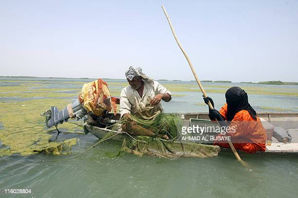 An Iraqi fisherman pulls in his nets as his wife helps in their dug-out on the al-Huwaiza marshes northern Amara, 420 km south of Baghdad on June 13...