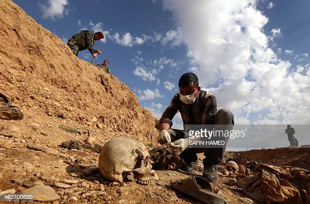 An Iraqi man inspects on February 3 the remains of members of the Yazidi minority killed by the Islamic State jihadist group after Kurdish forces...