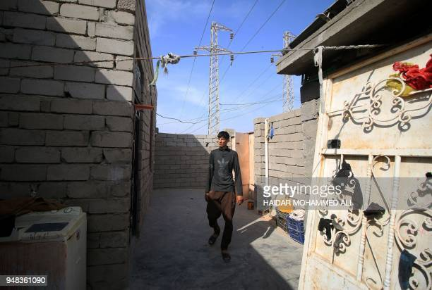 An Iraqi man walks in a house in alZubair south of Basra on February 11 2018 Informal housing settlements are flourishing in the oilrich province of...