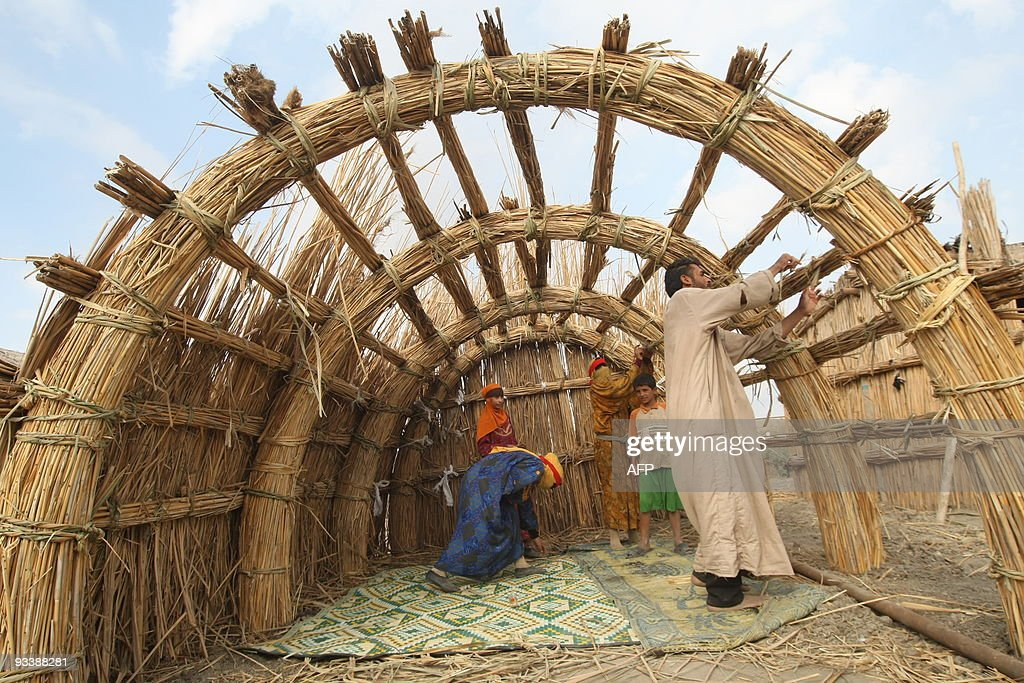 An Iraqi Marsh Arab Family Construct A Reed House In The