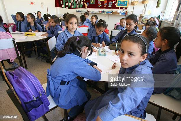 An Iraqi refugee student attends classes at the Shmeisani elementary school on August 28 2007 in Amman Jordan Ellen Sauerbery Assistant Secretary of...