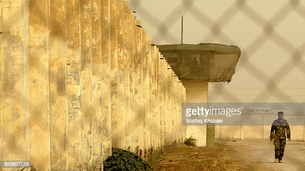 An Iraqi security officer patrols the grounds at the newly opened Baghdad Central Prison in Abu Ghraib on February 21, 2009 in Baghdad, Iraq. The...