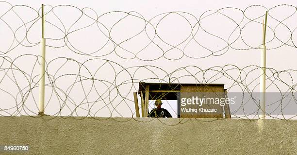 An Iraqi security officer stands guard at the newly opened Baghdad Central Prison in Abu Ghraib on February 21 2009 in Baghdad Iraq The Iraqi...
