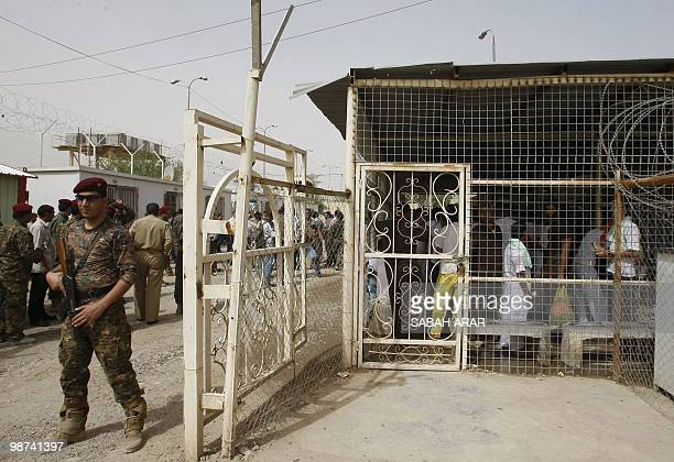 An Iraqi soldier stands guard at AlRusafa detention facility in Baghdad before the release on April 29 2010 of about 120 prisoners according to Iraqi...
