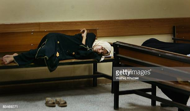 An Iraqi woman sleeps at the Baghdad Medical city hospital on September 16 2008 in Baghdad Iraq