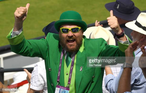 An Ireland fan celebrates as England are bowled out before lunch during day one of the Specsavers Test Match between England and Ireland at Lord's...