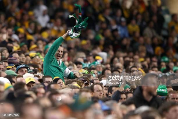 An Ireland supporter cheers during the Third International Test match between the Australian Wallabies and Ireland at Allianz Stadium on June 23 2018...