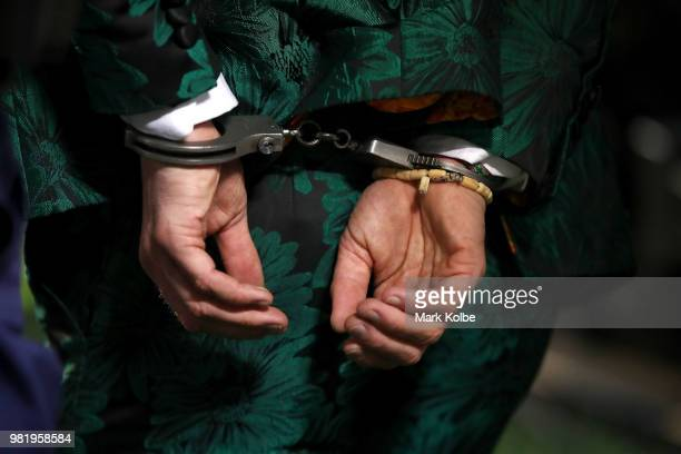 An Ireland supporter who invaded the pitch to celebrate victory with the Ireland team is seen in handcuffs after the Third International Test match...