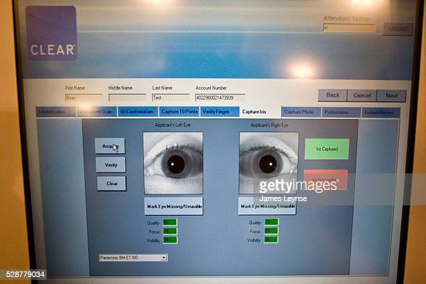 An iris scan on a screen at Clear's booth at Grand Central Station The scan is part of the process to qualify for the Clear card from Verified...