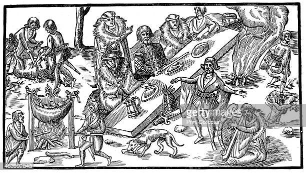 An Irish banquet From The Image of Irelande by John Derrick 1581 An illustration from A Short History of the English People by John Richard Green...