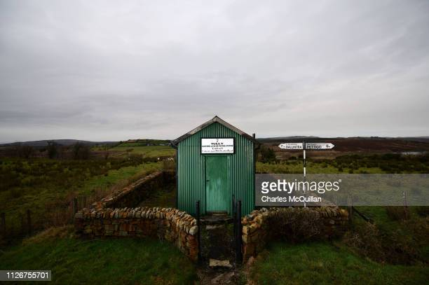 An Irish Customs Post stands alone along the border on February 11 2019 in Tully Ireland Along the winding 499 kilometers of the Irish border are...