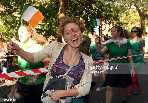 An Irish dancer performs during the annual Carnival of Cultures parade in Kreuzberg district on May 19 2013 in Berlin Germany The carnival in German...