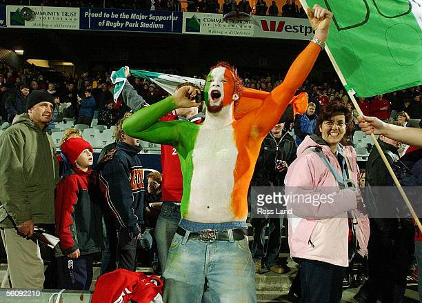 An Irish fan celebrates following the British and Irish Lions 2616 win in their 6th tour match against Southland at Rugby Park Invercargill New...