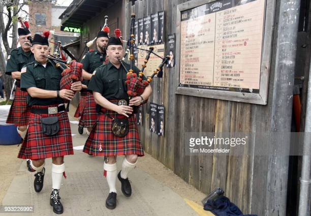 An Irish marching band performs during Rachael Ray's Feedback party at Stubb's Bar B Que during the South By Southwest conference and festivals on...