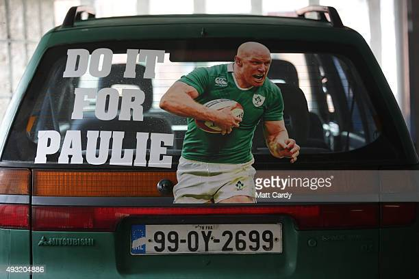 An Irish registered car is seen in a car park close to the Millennium Stadium where Ireland are playing Argentina in the quarter finals of the Rugby...