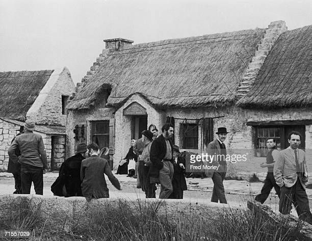 An Irish village and extras constructed at Pinewood Studios Iver Buckinghamshire for the Frank Launder film 'Captain Boycott' September 1946