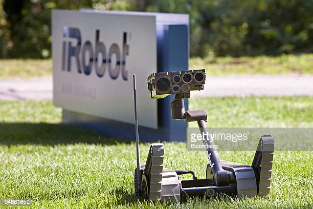 An iRobot Corp. Small Unmanned Ground Vehicle is demonstrated outside the company's new headquarters in Bedford, Massachusetts, U.S., on Monday, June...