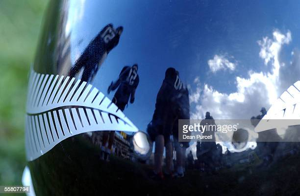 An Iron Blacks players helmet reflects some of the team during the American Football match between the New Zealand Iron Blacks and Australia played...