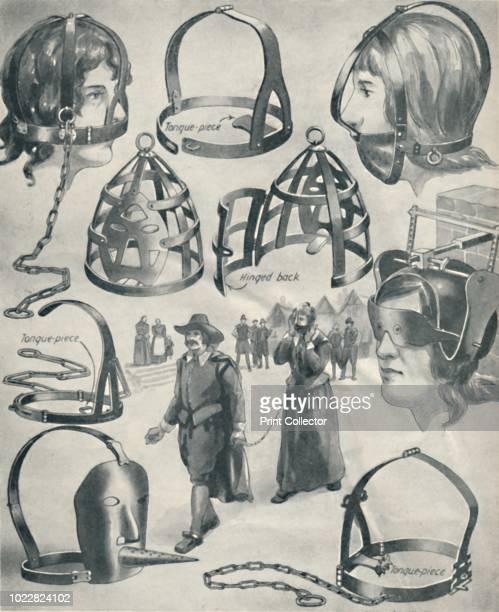 An Iron Bridle for a Scold's Tongue' circa 1934 Illustration showing various types of metal bridle or branks used as punishment for percieved...