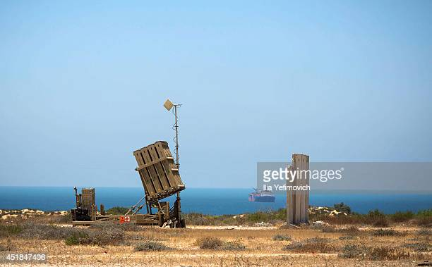 An Iron dome missile defense system is deployed on July 8 in Ashkelon, Israel. Due to recent escalation in the region, the Israeli army started new...