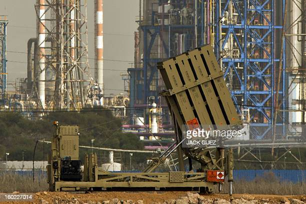 "An ""Iron Dome"" short-range missile defence system is pictured near the northern Israeli city of Haifa on January 28, 2013. The Iron Dome defence..."