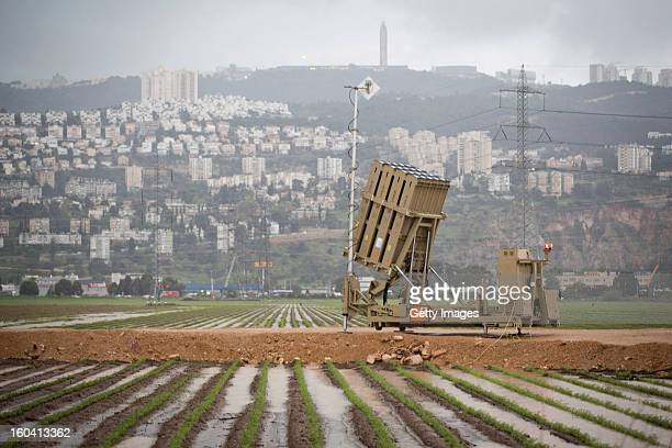An 'Iron Dome' short-range missile defense system is positioned near the northern city of Haifa on January 31, 2013 in Israel. The Iron Dome missile...