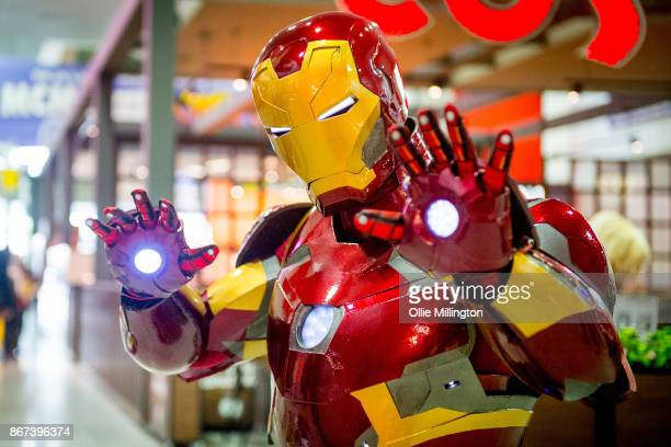 An Iron Man cosplayer during MCM London Comic Con 2017 held at the ExCel on October 28, 2017 in London, England.
