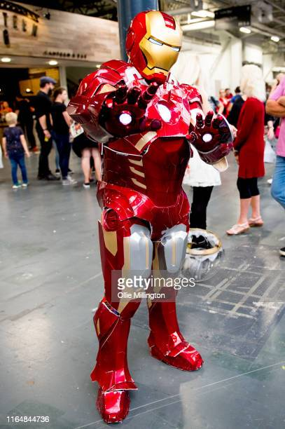 An Iron Man cosplayer in character seen during London Film and Comic Con 2019 at Olympia London on July 27 2019 in London England