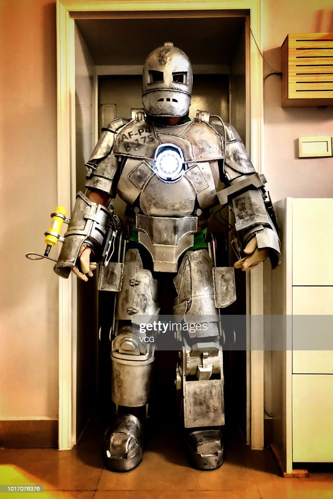 An iron man suit made by Chinese Liu Zhichao on August 10, 2018 in