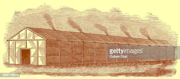 An Iroquois longhouse These were made of sharpened poles with strips of bark woven horizontally between them to form weatherproof walls Roofing...