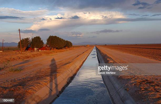 An irrigation canal southeast of the Salton Sea is fed by Colorado River water from the Coachella Canal October 17, 2002 near El Centro, California....