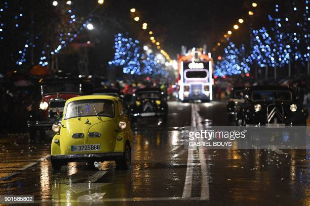 An Isetta takes part in the traditional Three Kings parade marking Epiphany in Madrid on January 5 2018 / AFP PHOTO / GABRIEL BOUYS
