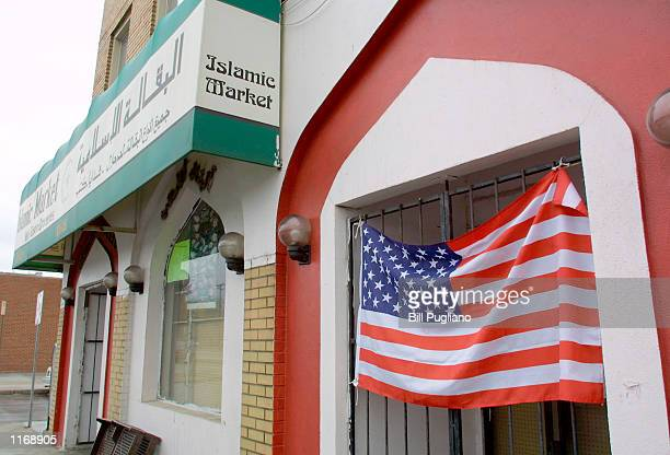 An Islamic market displays the US flag October 12, 2001 in Dearborne, MI. Dearborn is home to the largest Arabic community outside of the middle east.