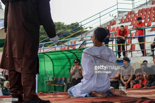LHOKSEUMAWE ACEH INDONESIA An Islamic Sharia violator who sexually abusing minors underwent an execution of caning in Lhokseumawe City Aceh Province...