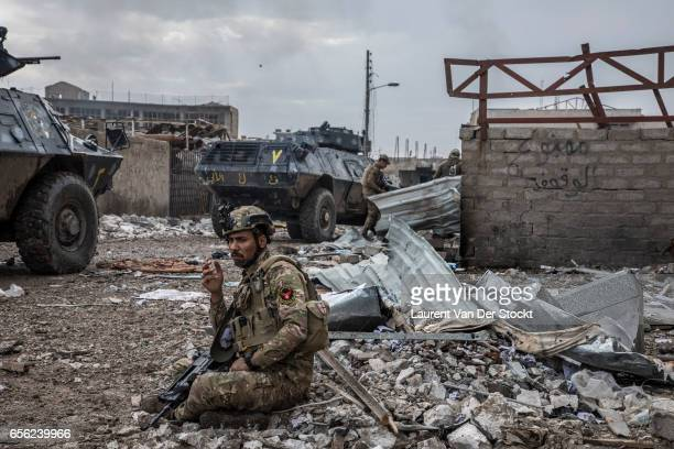 An Islamic State suicide bulldozer explode some 40 meters rear of the front of the soldiers of Iraqi federal police's ERD near the Old Bridge facing...