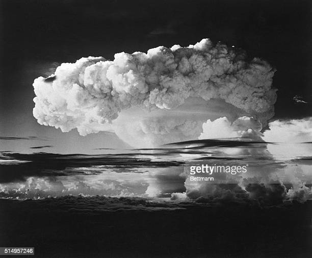 An island in the Marshals was destroyed when the Hbomb was exploded in the fall of 1952 but pictures of the event weren't released to shake the world...